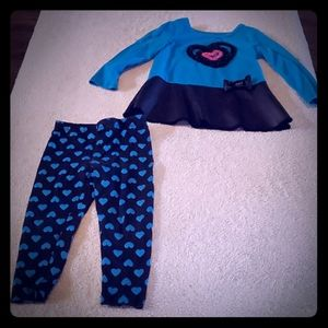 Flapdoodles 2t girls outfit black blue hearts